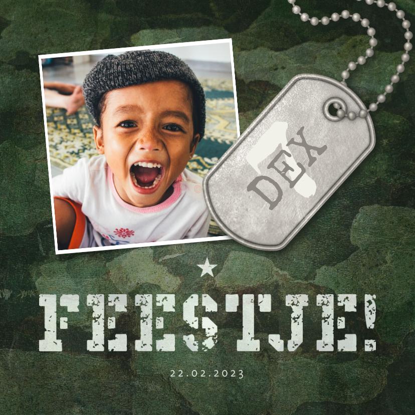 Kinderfeestjes - Kinderfeestje army stoer met foto en legerplaatje