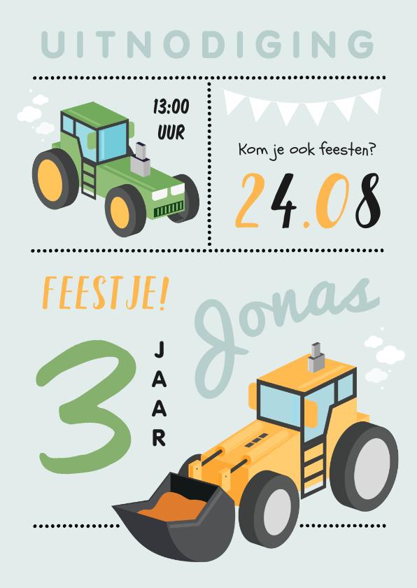 Kinderfeestjes - Kinderfeestje boerderij tractor grafamachine stoer jongen