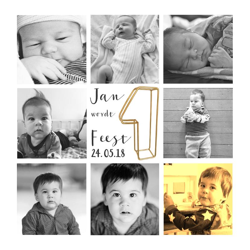 Kinderfeestjes - Kinderfeestje collagekaart met draad goud 1