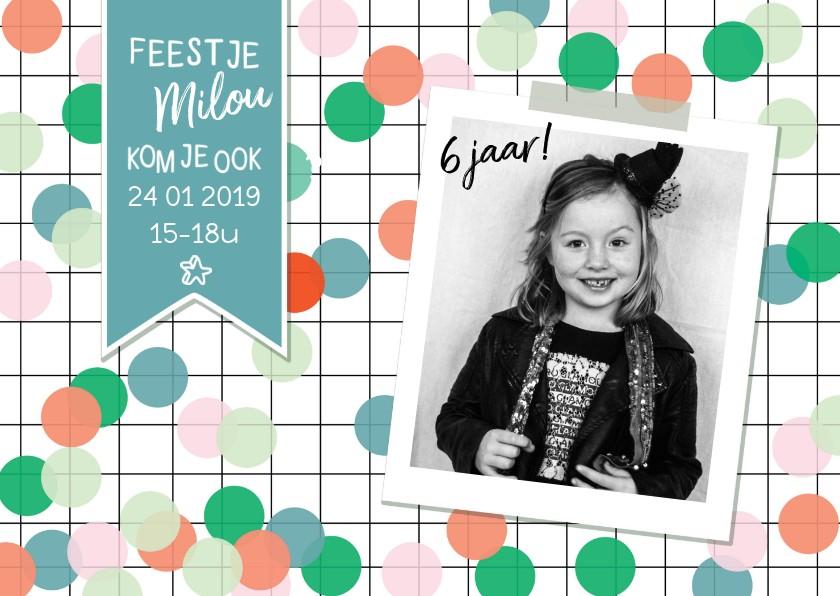 Kinderfeestjes - Kinderfeestje confetti fotokaart meisje