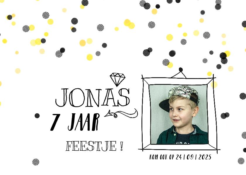 Kinderfeestjes - Kinderfeestje confetti hip geel zwart