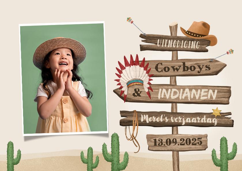 Kinderfeestjes - Kinderfeestje cowboys indianen foto wegwijzers hout
