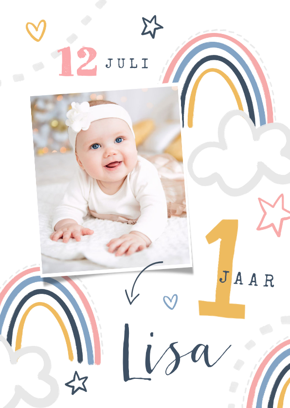 Kinderfeestjes - Kinderfeestje eerste verjaardag peuter regenboog wolken ster