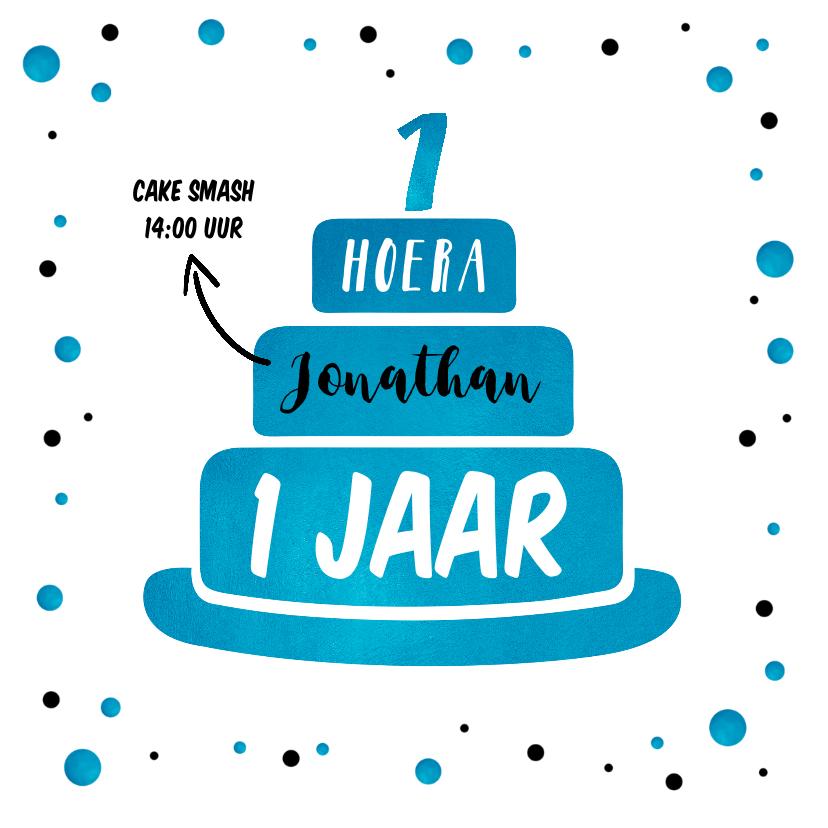 Kinderfeestjes - Kinderfeestje eerste verjaardag uitnodiging cake smash