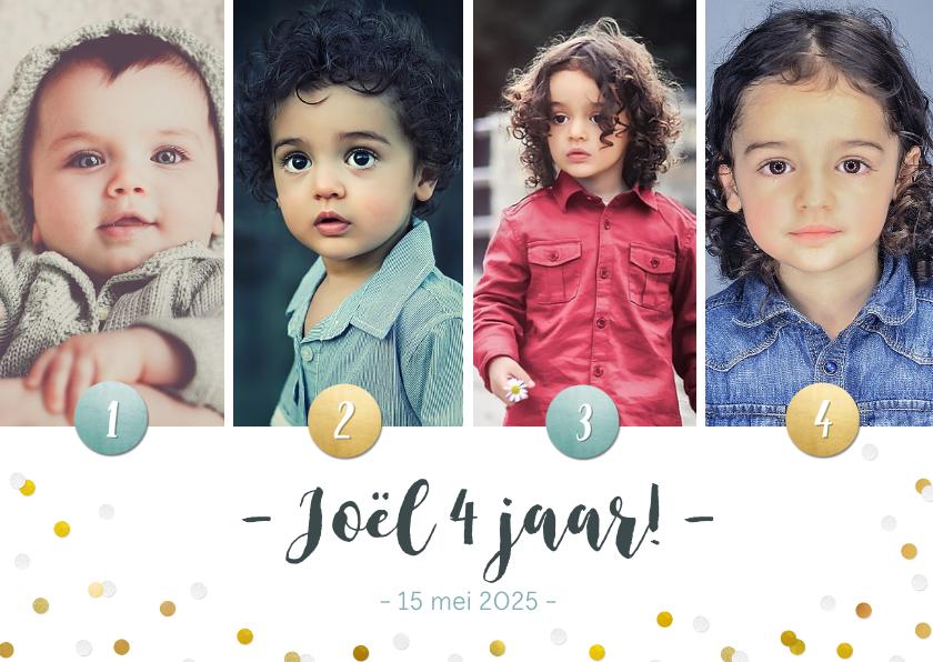 Kinderfeestjes - Kinderfeestje fotocollage uitnodiging 4 jaar met 4 foto's