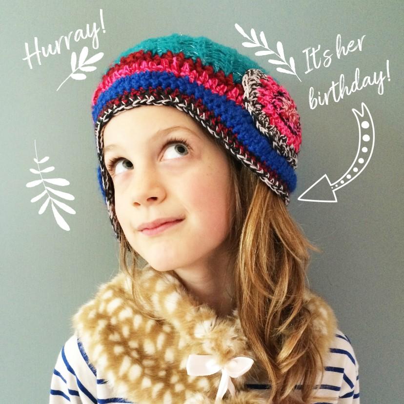Kinderfeestjes - Kinderfeestje fotokaart meisje illustraties