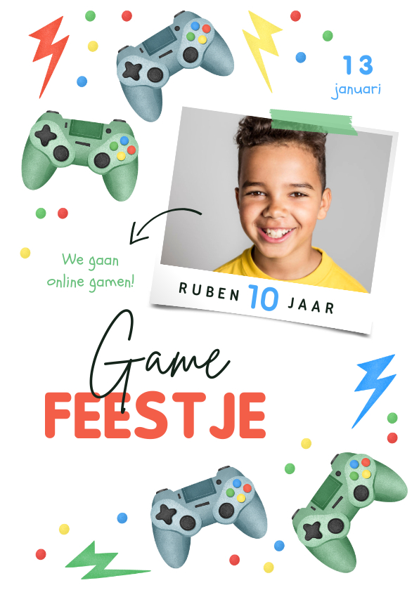 Kinderfeestjes - Kinderfeestje gamen controller bliksem confetti foto