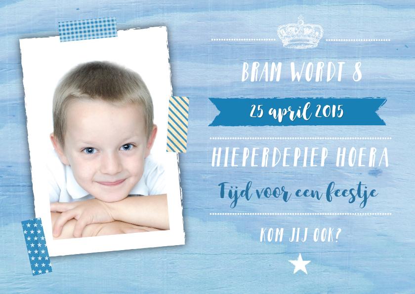 Kinderfeestjes - Kinderfeestje jongen houtlook blauw foto