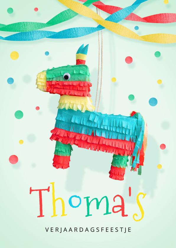 Kinderfeestjes - Kinderfeestje jongen uitnodiging hip ezel piñata