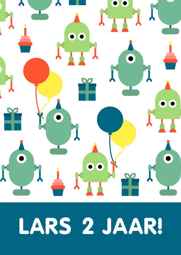 Kinderfeestjes - Kinderfeestje kaart met feestende robots
