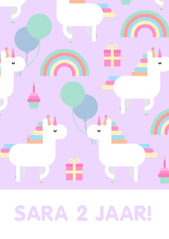 Kinderfeestjes - Kinderfeestje kaart met feestende unicorns