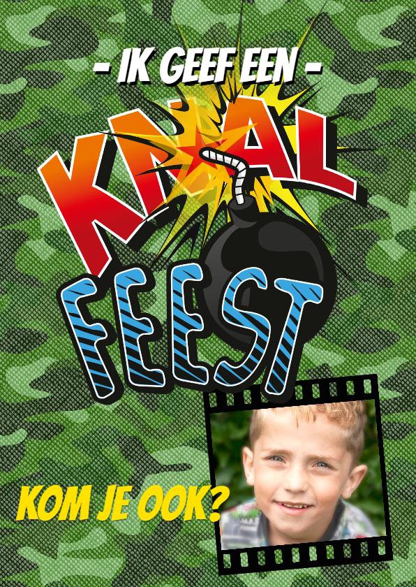 Kinderfeestjes - Kinderfeestje Knalfeest camouflage strip foto groen