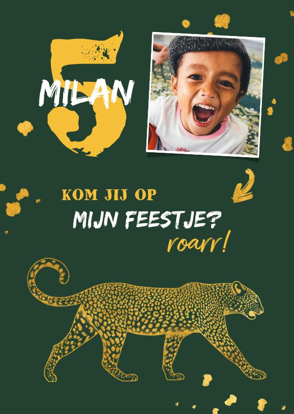 Kinderfeestjes - Kinderfeestje leopard goudlook met foto en spetters