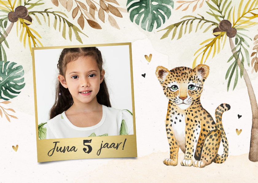 Kinderfeestjes - Kinderfeestje luipaard jungle meisje palmbomen foto hartjes