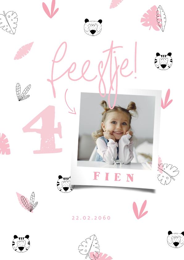Kinderfeestjes - Kinderfeestje meisje roze jungle patroontje met foto