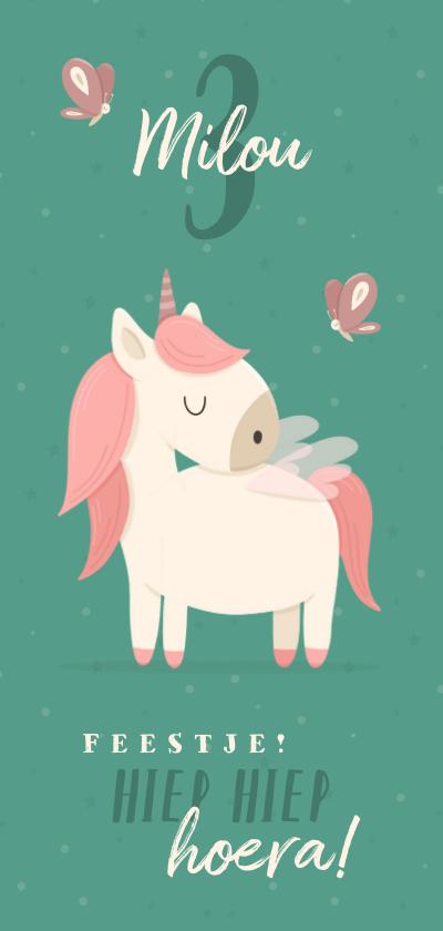 Kinderfeestjes - Kinderfeestje met unicorn en vlinders uitnodiging