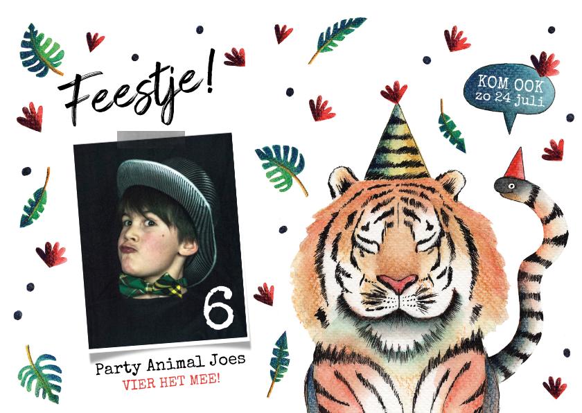 Kinderfeestjes - Kinderfeestje party animal aquarel illustratie