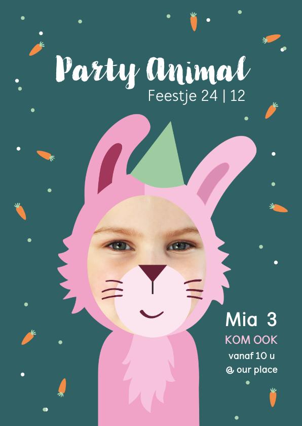 Kinderfeestjes - Kinderfeestje Party animal meisje als konijn