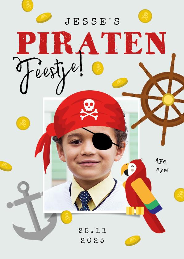 Kinderfeestjes - Kinderfeestje piraat boot speurtocht schatkist papegaai