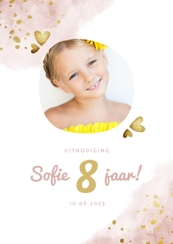 Kinderfeestjes - Kinderfeestje roze met foto, gouden hartjes en waterverf