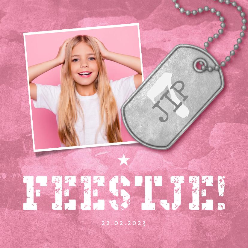 Kinderfeestjes - Kinderfeestje roze stoer met foto en legerplaatje