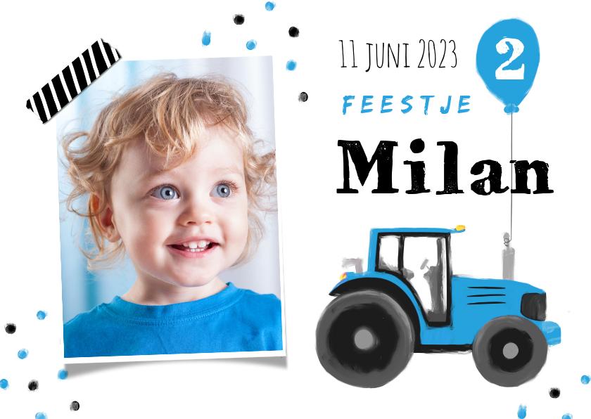 Kinderfeestjes - kinderfeestje stoer blauw tractor confetti ballon boerderij