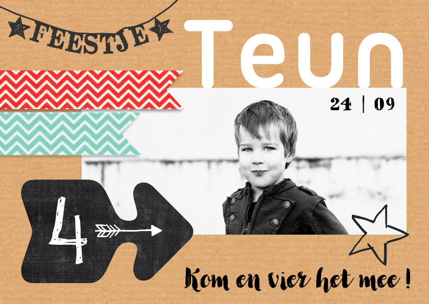 Kinderfeestjes - Kinderfeestje stoer foto craft Teun