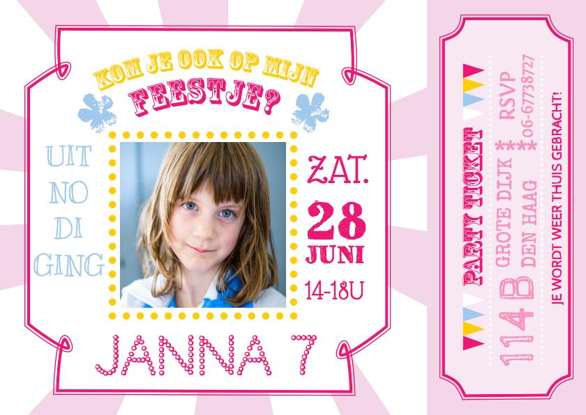 Kinderfeestjes - Kinderfeestje ticket roze