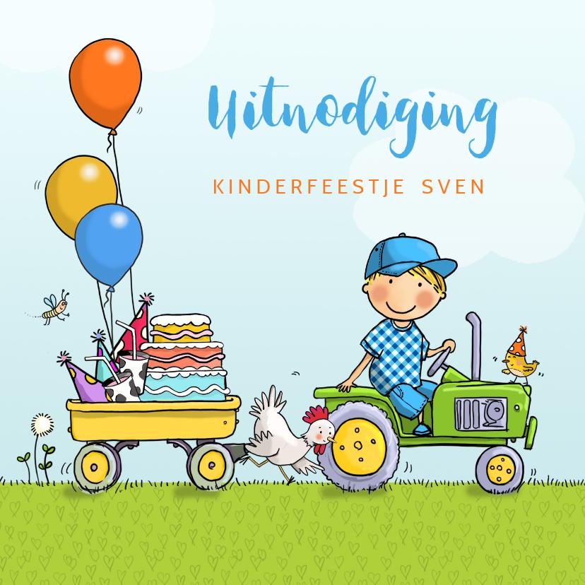 Kinderfeestjes - Kinderfeestje tractor met aanhanger jongen