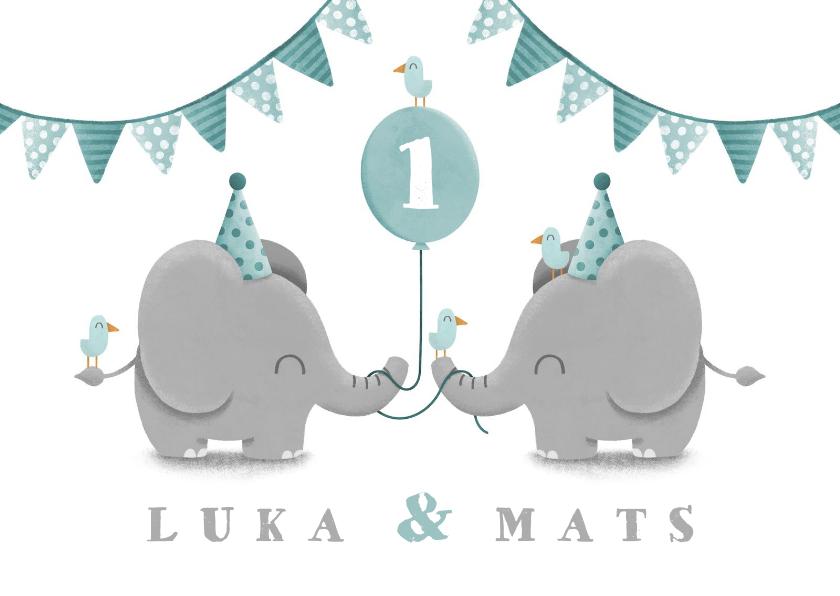 Kinderfeestjes - Kinderfeestje tweeling olifantjes met ballon en slingers