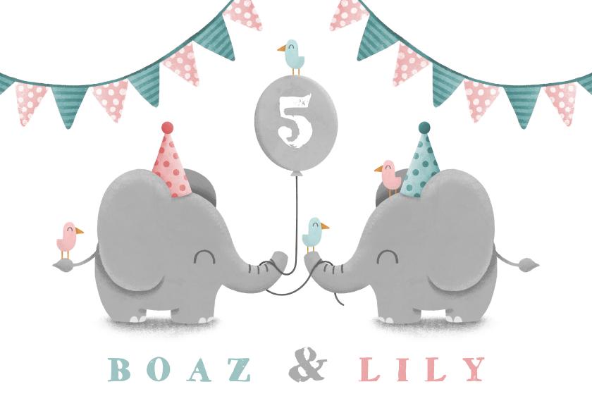 Kinderfeestjes - Kinderfeestje tweeling olifantjes uni met ballon en slingers