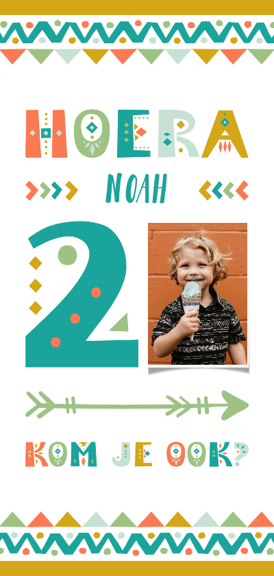 Kinderfeestjes - Kinderfeestje uitnodiging 2 jaar tribal stijl jongen