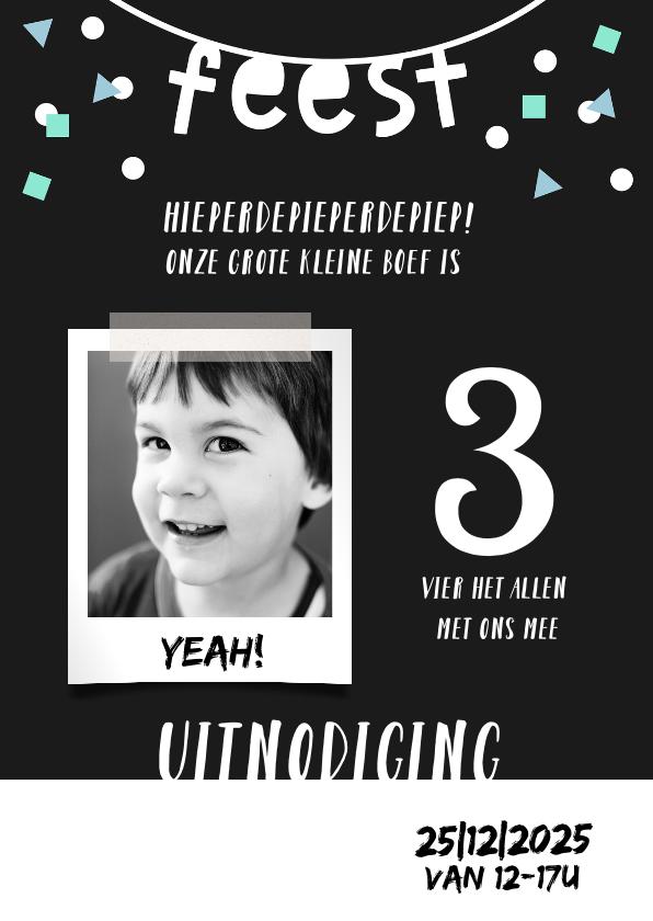 Kinderfeestjes - Kinderfeestje uitnodiging 3 jaar confetti