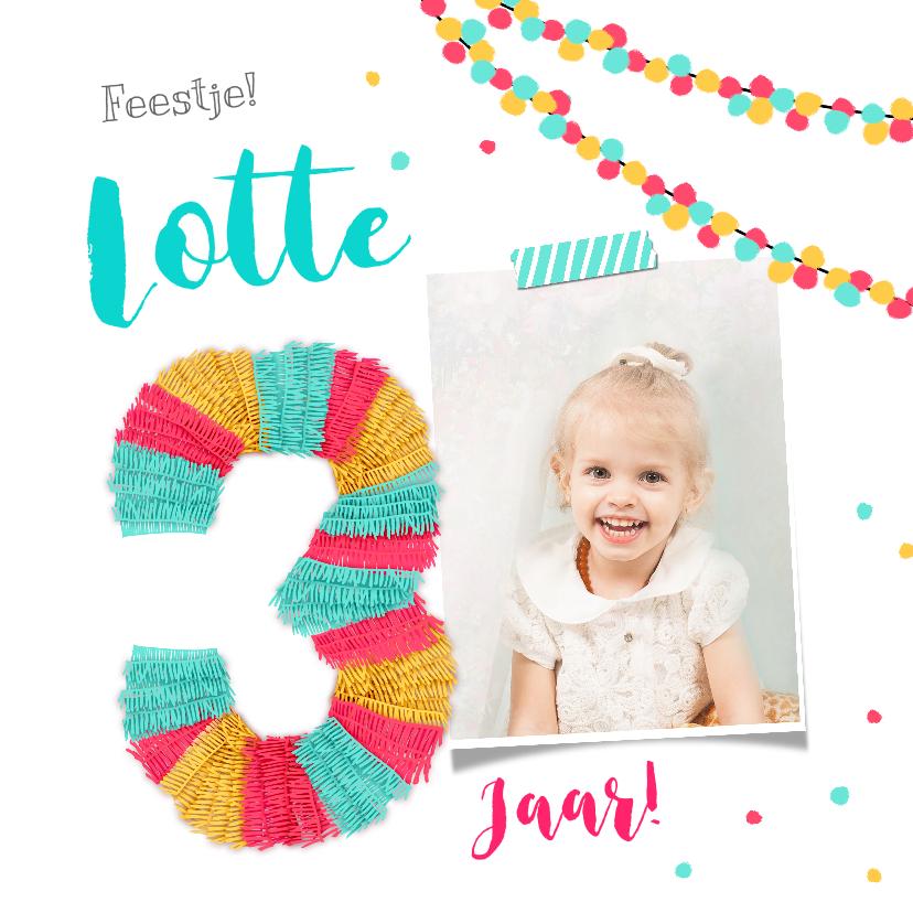 Kinderfeestjes - Kinderfeestje uitnodiging 3 jaar feestelijk met piñata