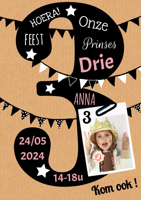 Kinderfeestjes - Kinderfeestje uitnodiging 3 jaar karton