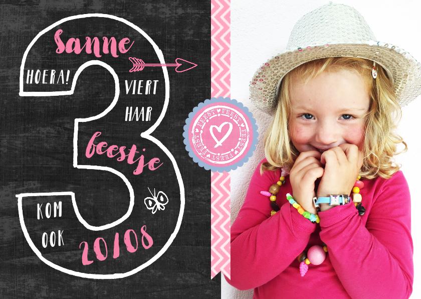 Kinderfeestjes - Kinderfeestje uitnodiging 3 jaar meisje