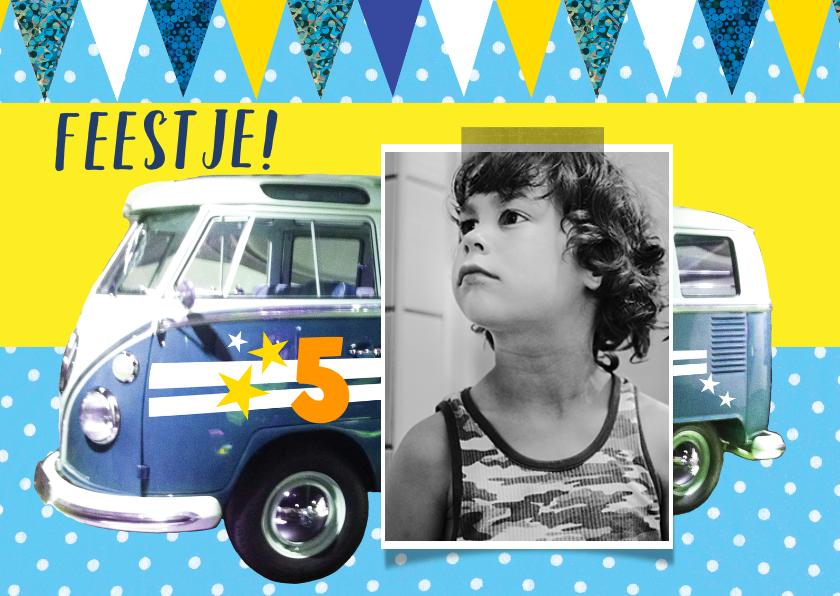 Kinderfeestjes - Kinderfeestje uitnodiging autobusje stoer