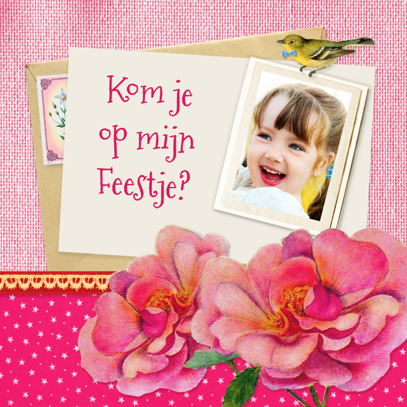 Kinderfeestjes - Kinderfeestje uitnodiging bloem