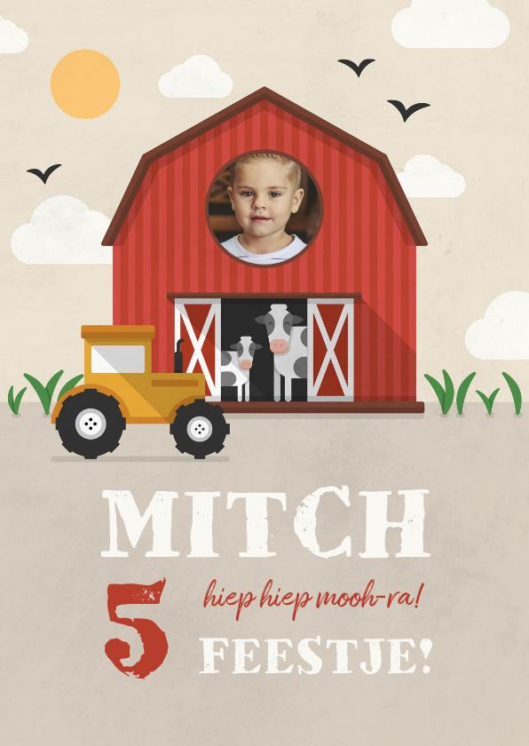 Kinderfeestjes - Kinderfeestje uitnodiging boerderij met koeien en tractor