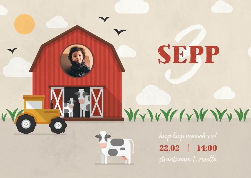 Kinderfeestjes - Kinderfeestje uitnodiging boerderij met tractor en koeien