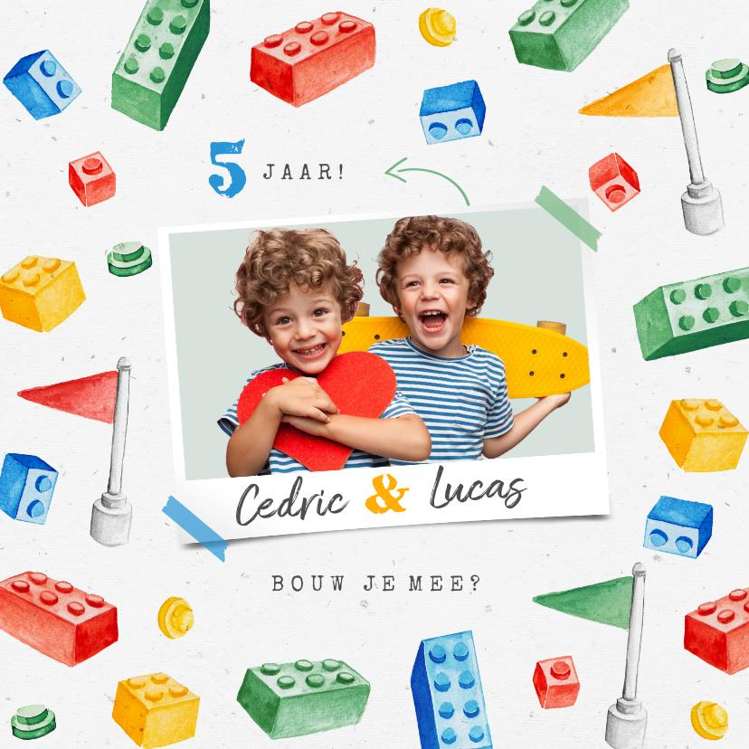 Kinderfeestjes - Kinderfeestje uitnodiging bouwen activiteit lego