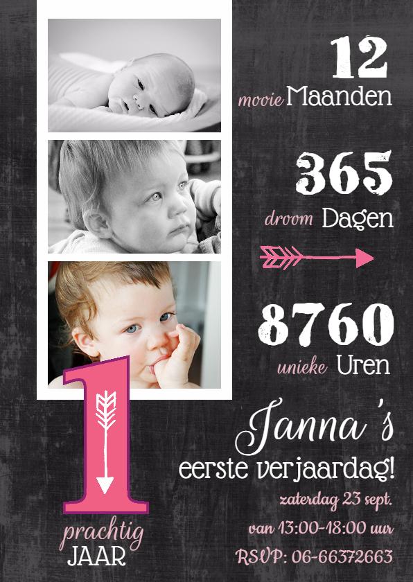 uitnodiging baby 1 jaar Kinderfeestje uitnodiging Collage 1 jaar roze | Kaartje2go uitnodiging baby 1 jaar