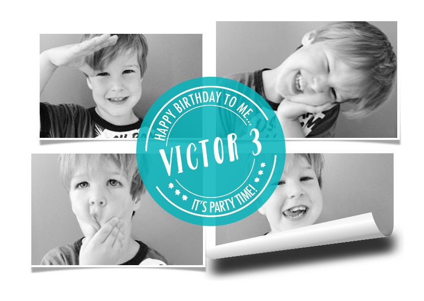 Kinderfeestjes - Kinderfeestje uitnodiging collage hip wit