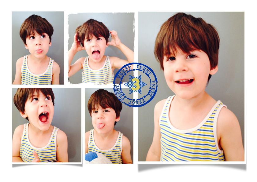 Kinderfeestjes - Kinderfeestje uitnodiging collage stempel