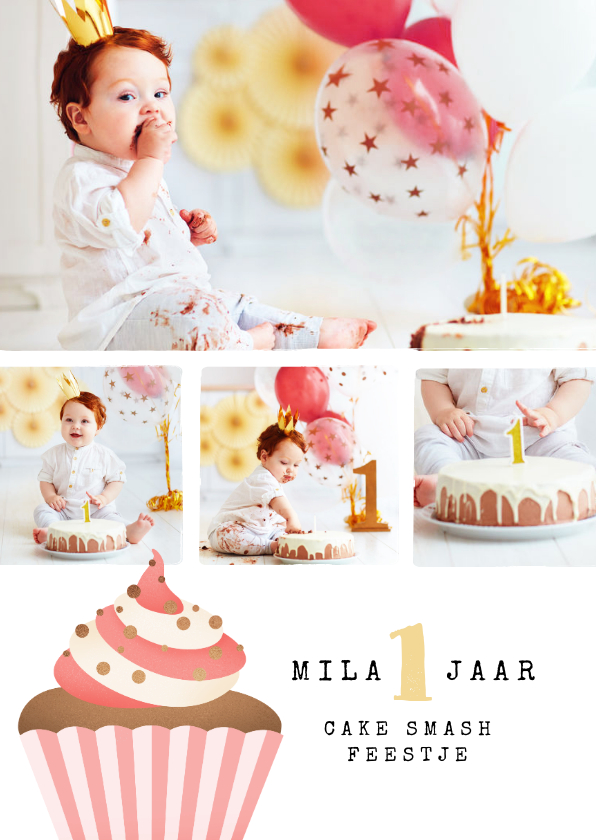 Kinderfeestjes - kinderfeestje uitnodiging cupcake cake smash fotocollage