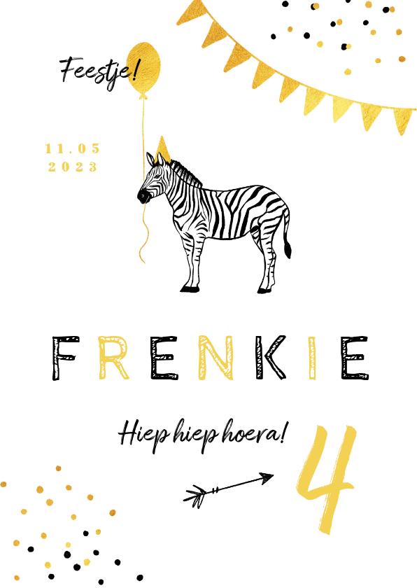 Kinderfeestjes - Kinderfeestje uitnodiging dieren zebra feestje confetti