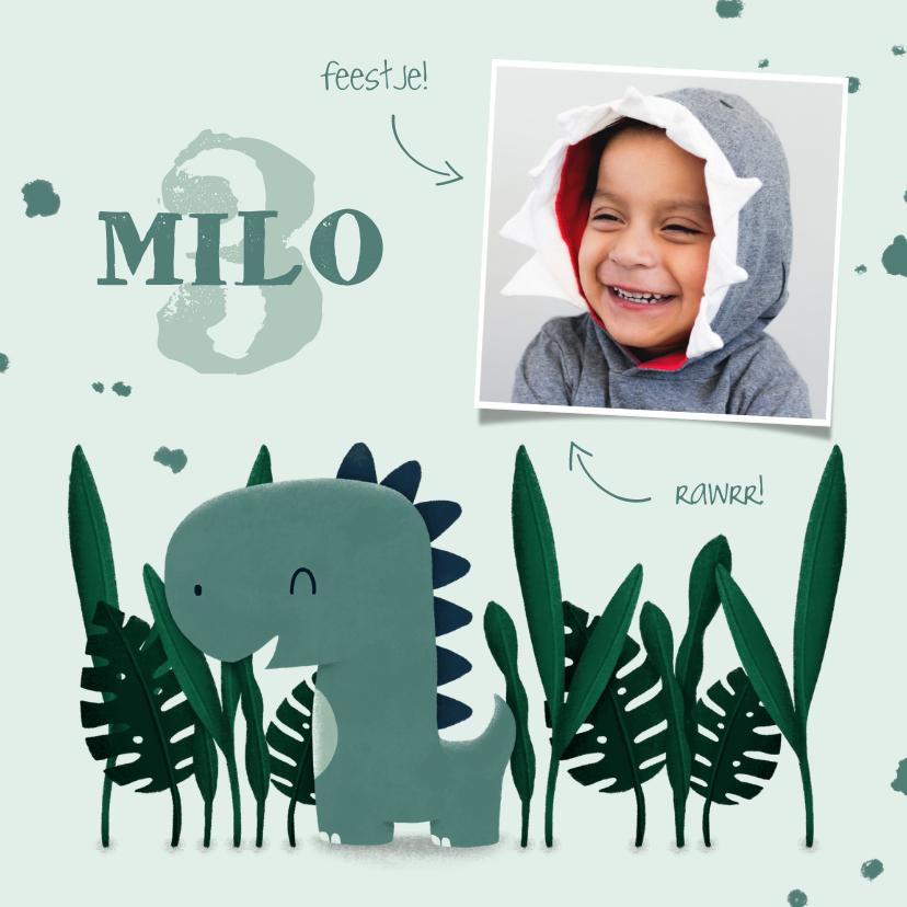 Kinderfeestjes - Kinderfeestje uitnodiging dinosaurus jungle met foto