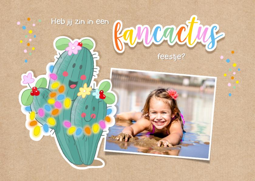 Kinderfeestjes - Kinderfeestje uitnodiging fancactus feestje
