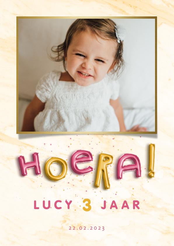 Kinderfeestjes - Kinderfeestje uitnodiging folieballonnen 'hoera' roze/goud