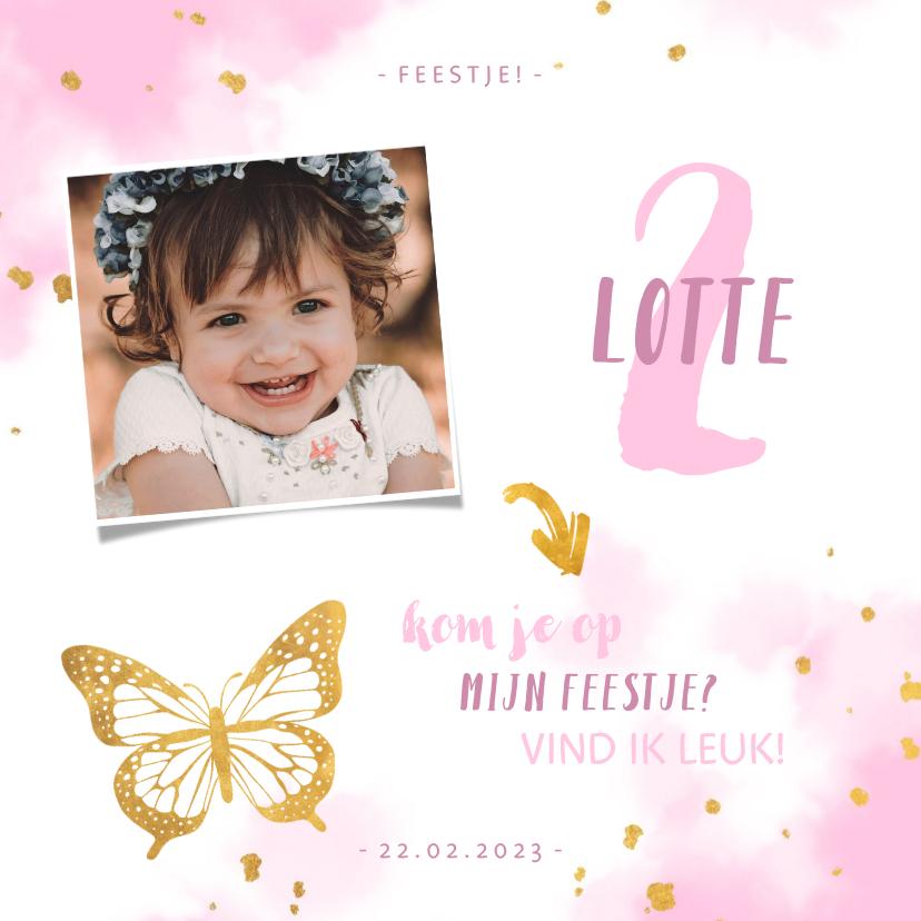 Kinderfeestjes - Kinderfeestje uitnodiging foto met vlinder en spetters